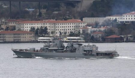 Ukraine Navy's flagship, the Hetman Sahaidachny frigate, sets sail in the Bosphorus on its way to Black Sea, in Istanbul