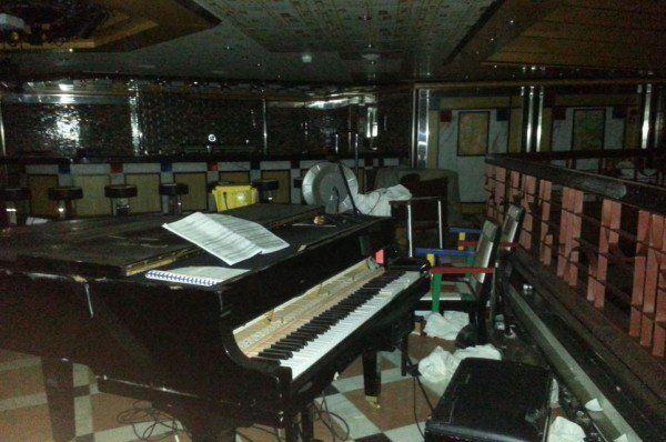 The interior of the sunken cruise ship the Costa Concordia