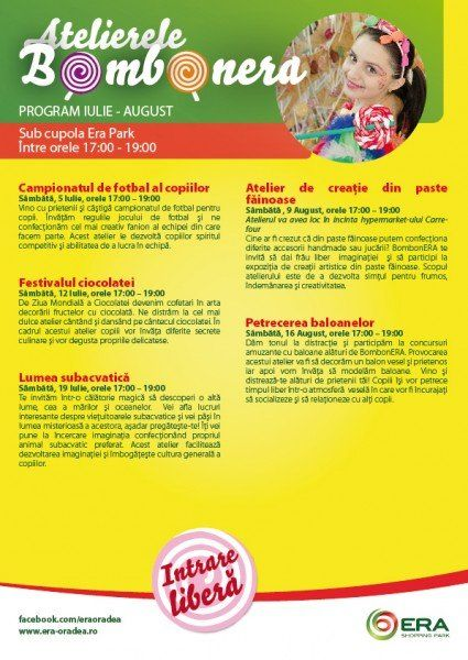Program Ateliere BombonERA Iulie + August