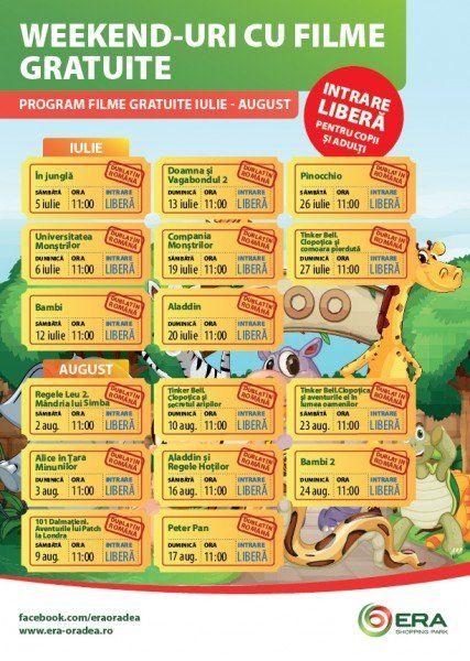 Program Weekend-uri cu filme gratuite Iulie + August
