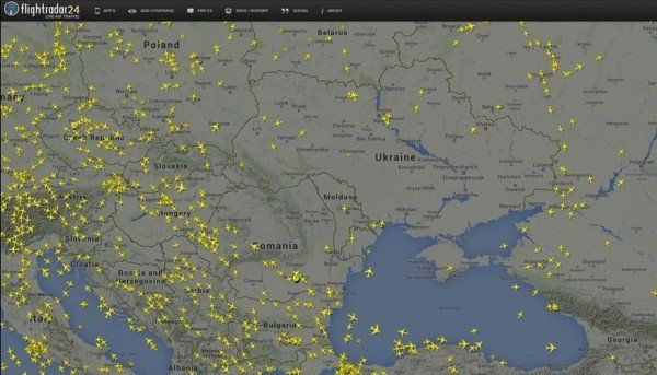 FOTO: FLIGHTAWARE.COM - Harta live a zborurilor demonstreaza ca avioanele ocolesc zona
