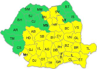 Harta județelor afectate de codul galben de vineri seară,până sâmbătă seară.