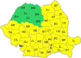 Harta zonele afectate de cod galben de ninsori, intensificări ale vântului, precipitaţii mixte, polei în intervalul 28 decembrie, ora 20 – 29 decembrie, ora 23.