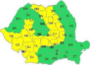Pentru unele județe, meteorologii au emis cod galben de precipitaţii importante cantitativ, intensificări ale vântului și ninsori.