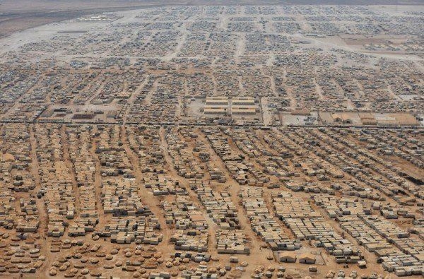 An aerial view shows the Zaatari refugee camp, near the Jordanian city of Mafraq