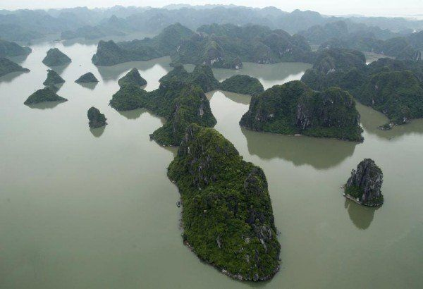 Ha Long Bay is seen from a seaplane of Hai Au Aviation during its first flight from Hanoi to Ha Long