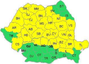 Cod galben de ploi şi vijelii în judeţul Arad